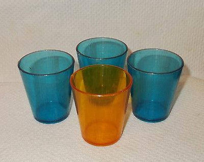 4 Vintage 60's Children's Blue Orange Hard Plastic Malt Shake Glass Pretend Doll Toy Play Set