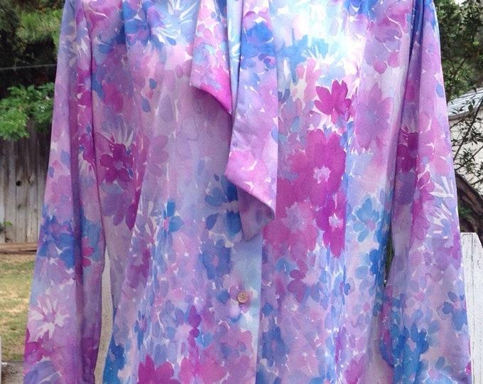 Vintage 70's Hippie Chic MOD Teddi Of California Blue Purple Floral Preppy Bow Tie Blouse Top