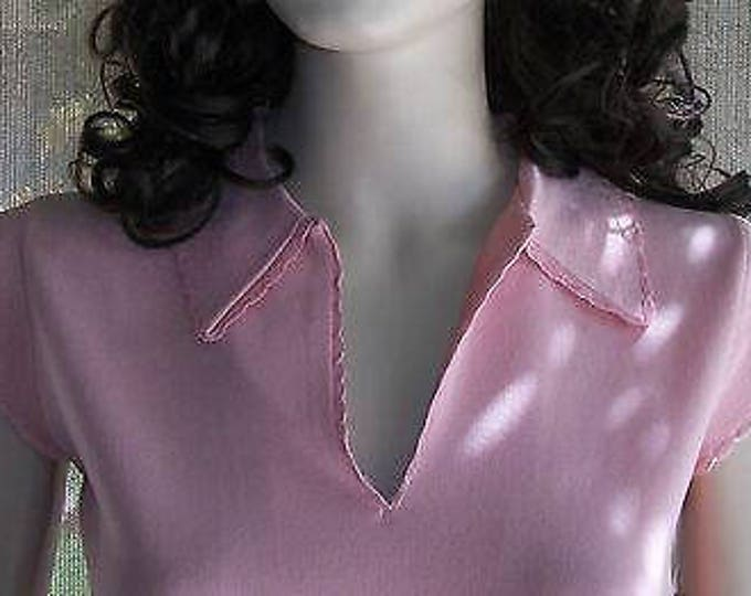 Vintage 70s Deadstock Exmoor Knit Shimmer Skimmer Baby Pink Pullover Blouse Top
