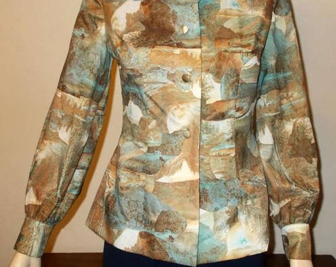 Vintage 70's Brown Blue Yosemite Hunting Pictograph Print Preppy Secretary Blouse Shirt Top