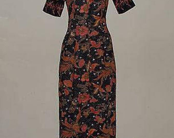 Vintage Handmade 70s Asian Cheongsam Blue Orange White Floral Cotton Batik Women's Short Sleeve Floor Length Hostess Dress