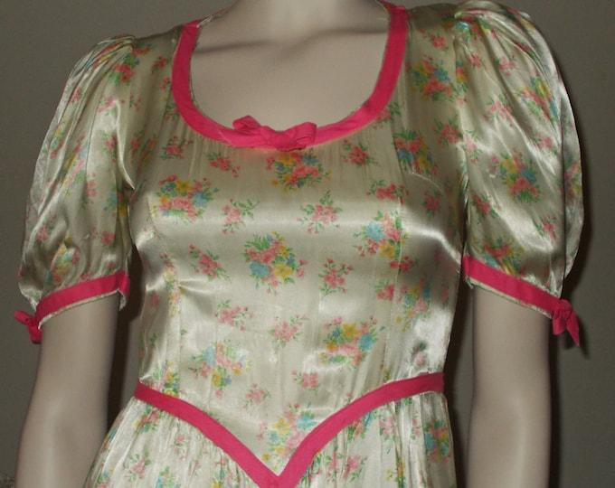 Vintage Handmade 70's Hippie Festival Pink White Floral Calico Prairie Women's Short Sleeve Full Length Dress