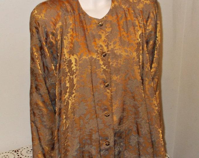 Rare Black Label Vintage 90's Jessica McClintock Avant Garde Bronze Green Floral Brocade Women's Tunic Mini Dress