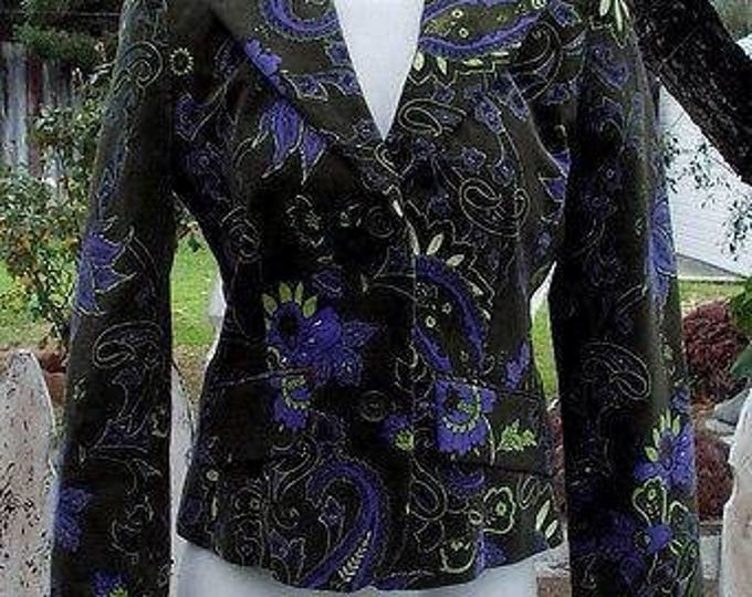 Vintage 90's Women's Petite Sophisticate Green Blue Yellow Floral Velvet Long Sleeve Blazer Jacket