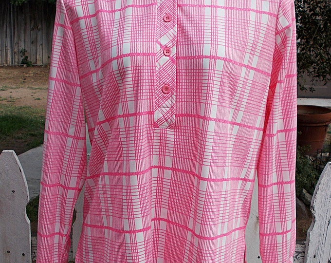 Vintage 70's Mod Retro Alex Colman Sportswear Pink White Plaid Hippie Chic Pullover Blouse Top