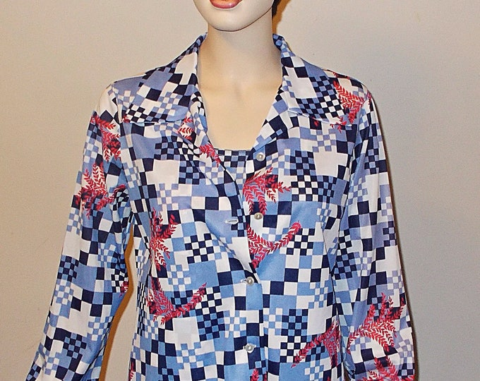 Vintage 70's Mister Remo Of California Mod Psychedelic Blue Red White Check Red Floral Leaf Women's Long Sleeve Shirt Tank Top
