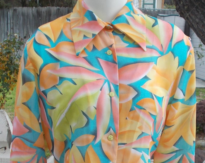 Vintage 90's Tropical Blue Green Orange Pink Polyester Floral Leaf Casual Career Women's Long Sleeve Blouse Shirt Top