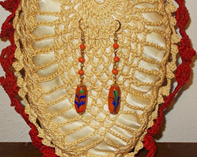 Boho Hippie Chic Handmade Orange Blue Green Floral Tube Drop Dangle Glass Bead Chandelier Extra Long Stainless Steel Earrings