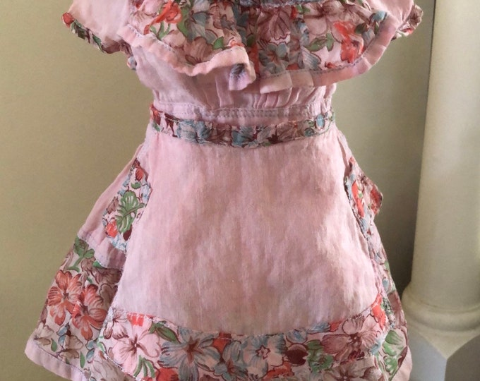 Vintage Handmade 50s Pink Blue Floral Flowers Leaf Doll Dress Matching Apron