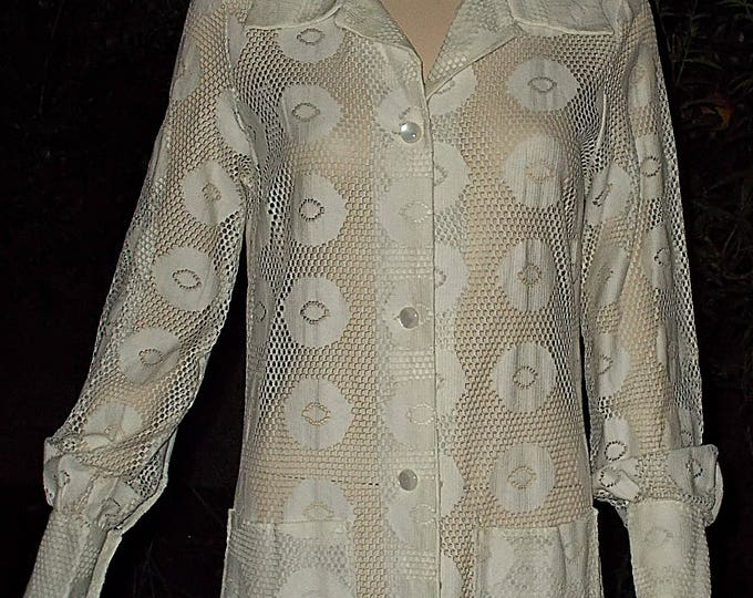 Vintage 60's Sun-Glo Miami Mod Hippie Festival Circles Geometric White Cotton Lace Women's Long Sleeve Cover-up Dress