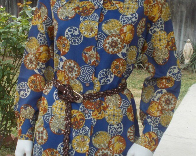Vintage 70s Abstract Graff Californiawear Blue Brown Yellow Psychedelic Circles Long Sleeve Blouse
