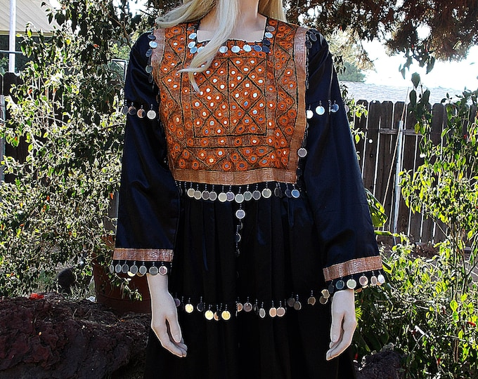 Vintage 60's Op Art Bohemian Festival Gypsy Black Silver Tribal Beads Gold Embroidered Metal Mirrors Women's Knee Length Dress