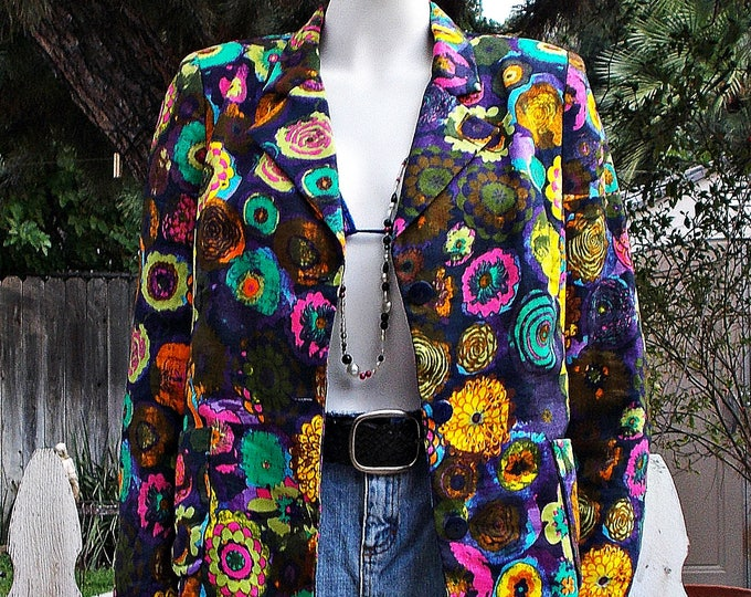 Vintage 80's Hippie Psychedelic Bright Neon Flowers Floral Cotton Women's Long Sleeve Blazer Jacket