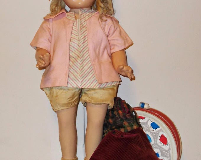 Vintage 40's Composition Unmarked Shirley Temple Shoulder Head Doll Blonde Mohair Wig Extra Outfit & Doll Case