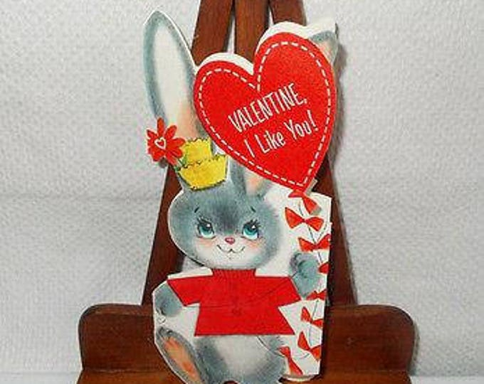 "Vintage Hallmark Little Bunny Rabbit ""I Like You"" Unused Valentines Day Greeting Card"