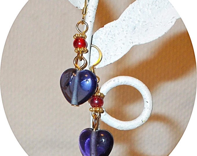 Handmade Boho Hippie Chic Blue Red Iolite Quartz Heart Glass Bead Drop Dangle Earrings