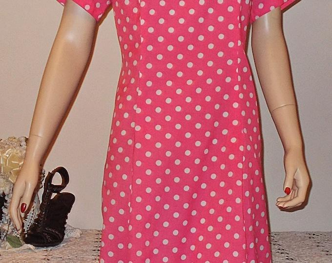 Vintage 70s Handmade Rockabilly Pink White Polka Dot Women's Shift Dress