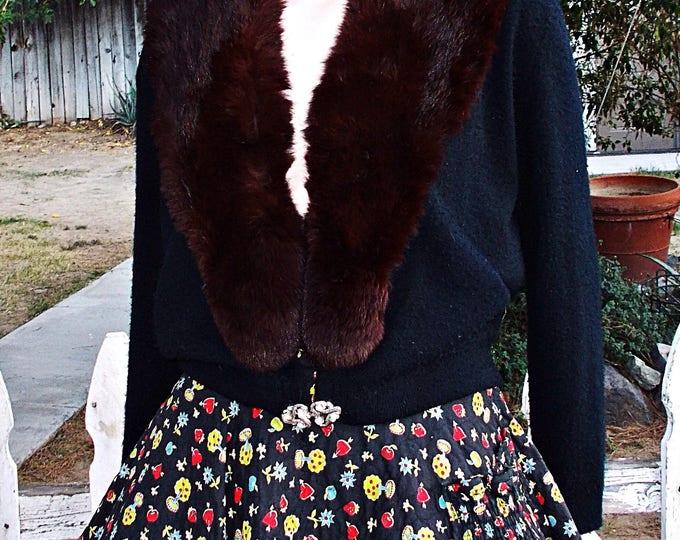 Vintage 50s City Fur Co. Black Brown Real Fur Collar Long Sleeve Cardigan Sweater