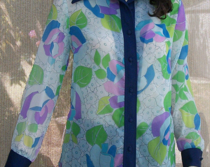 Vintage 70's Mod Hippie Blue Green Pink Psychedelic Floral Sheer Nylon Women's Long Sleeve Shirt