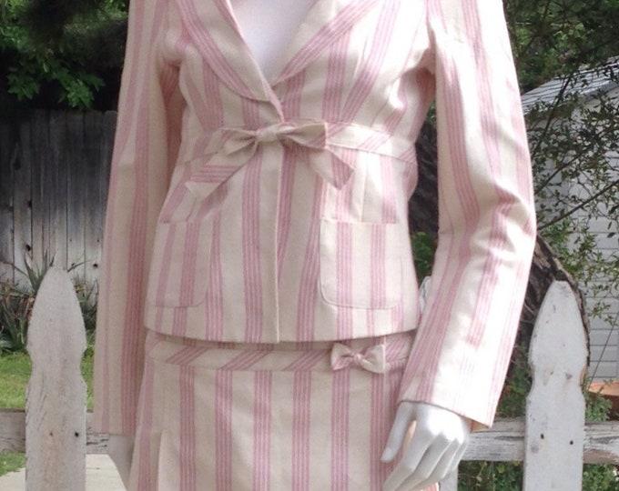 Vintage 90's Forever21 Pink White Striped Cotton Linen Preppy School Girl Junior Jacket Skirt Set