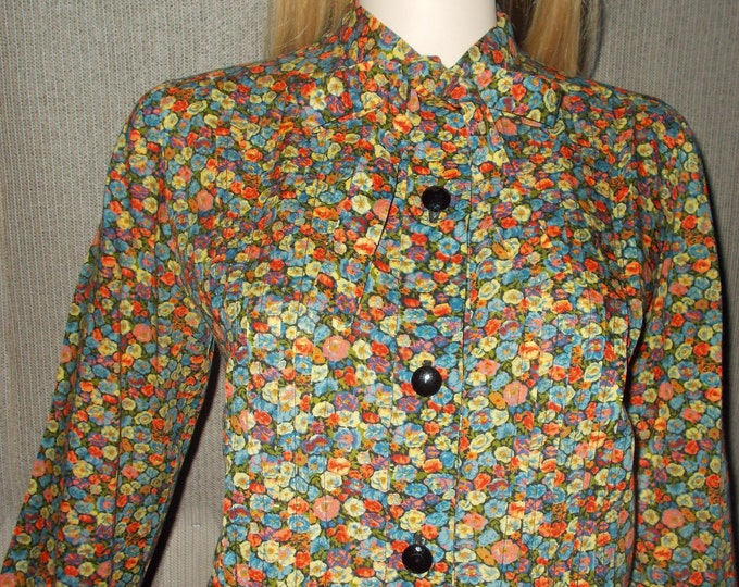 Vintage Handmade 70's Bohemian Hippie Chic Floral Calico Preppy School Girl Bow Tie Blouse Shirt