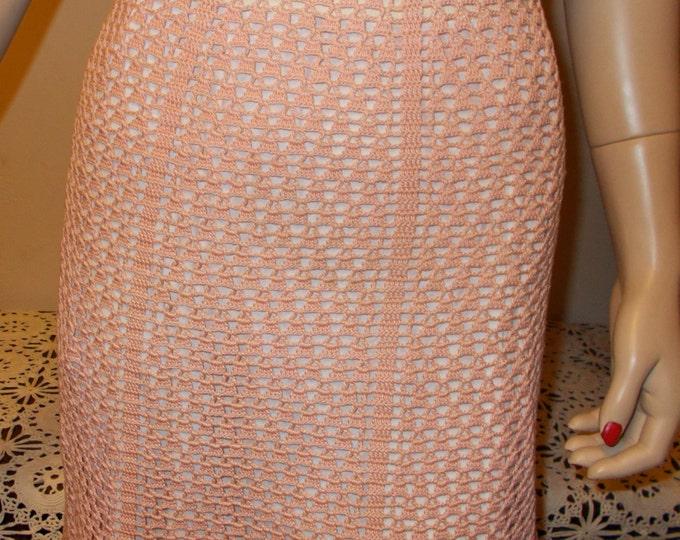 Vintage Handmade 40's Pink Cotton Crochet Pinup Rockabilly Women's Fitted Waist Skirt