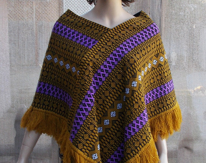 Vintage 60's Mod Boho Hippie Brown Purple White Geometric Fringed Pullover Poncho Shawl Wrap