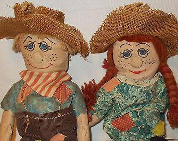 Vintage 70's Handmade Creepy Primitive Mr & Mrs Scarecrow Home Decor Halloween Stuffed Soft Dolls Toys