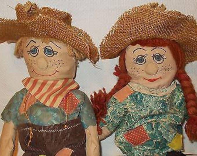 Vintage 70's Handmade Creepy Primitive Mr & Mrs Scarecrow Home Decor Halloween Stuffed Soft Dolls Toys