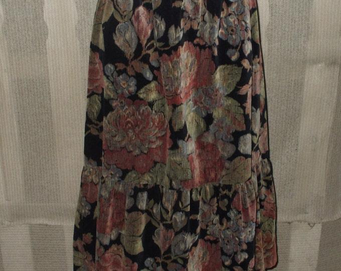 Vintage Dorothy Schoelen Black Velvet Floral Women's Skirt