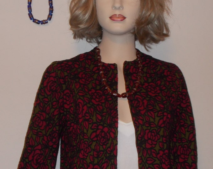 Vintage 80's Handmade Black Green Red Rose Floral Women's Short Bolero Coat Evening Cover-up Wrap