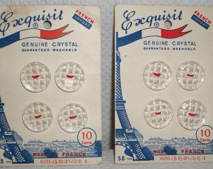 Vintage 60's French Import Genuine Crystal Exquisit Made In France Sewing Buttons On Original Cards