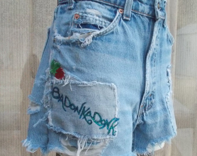 Vintage 70's Orange Tab Levis Strauss Distressed Embellished Badonkadonk Hony Tonk Cowgirl High Waist Blue Jean Denim Cut Off Shorts