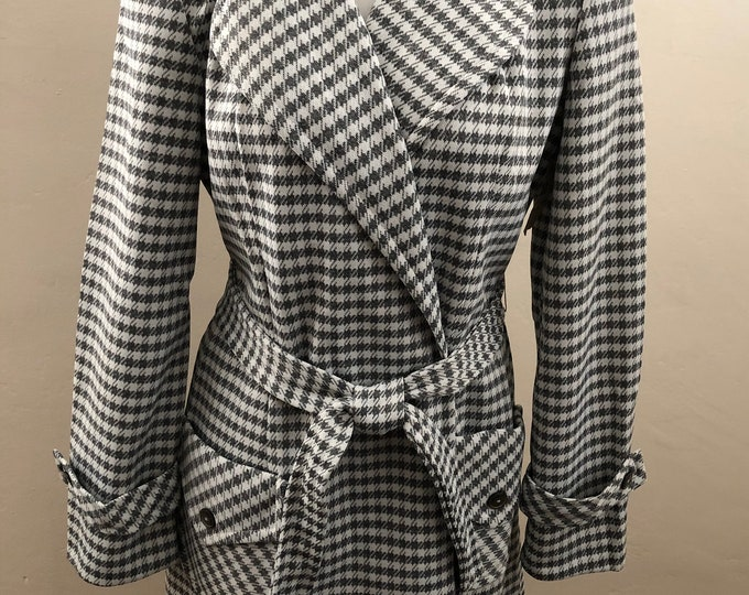 Vintage 70s Sears Deadstock Mod Geometric Gray WhIte Check Polyester Jacket Pantsuit Set