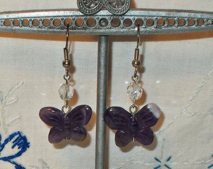 Handmade Carved Amethyst Butterfly Gemstone Purple Dragon Fly Clear Crystal Dangle Drop Stainless Steel Earrings