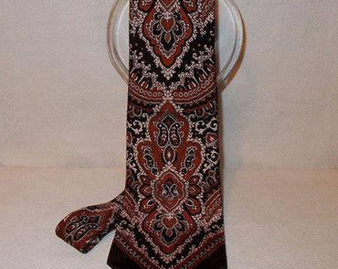 Vintage 90s Mens Psychedelic Brown Beige Qiana Nylon Paisley May Company Mens Store Classic Necktie Neck Tie