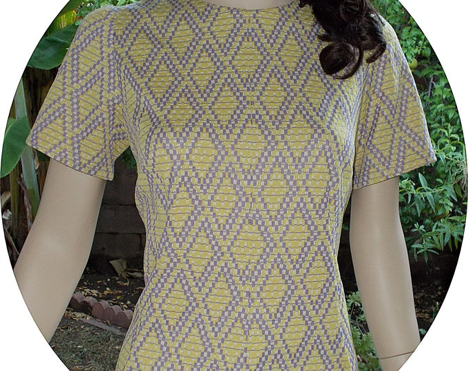 Vintage 70's MOD Geometric Purple Yellow Polyester Handmade Above The Knee Shift Dress
