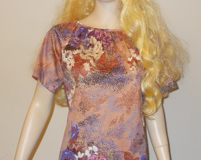 Vintage 70s Disco Hippie MOD Brown Purple Floral Short Sleeve Casual Womens Pullover Blouse Top M
