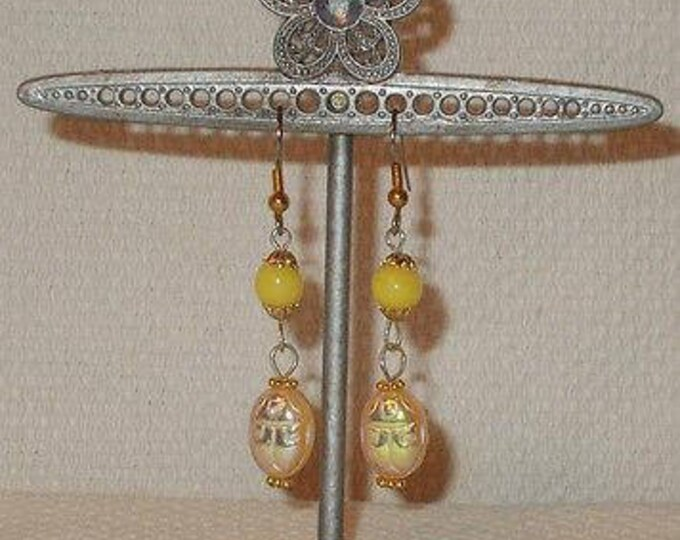 Boho Hippie Chic Yellow Scarab Beetle Bug Glass Bead Drop Dangle Stainless Steel Earrings