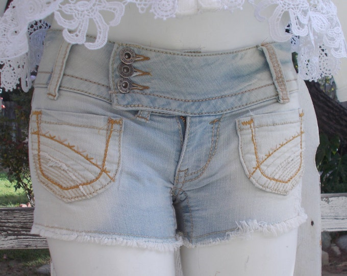 Vintage 90's Mudd Blue Jean Distressed Denim Cut Off Low Rise Waist Short Shorts