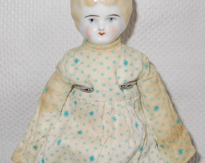 Early 1900s Antique Hertwig German China Head Dollhouse Doll Blonde Molded Common Hair Original Clothes Marked Germany