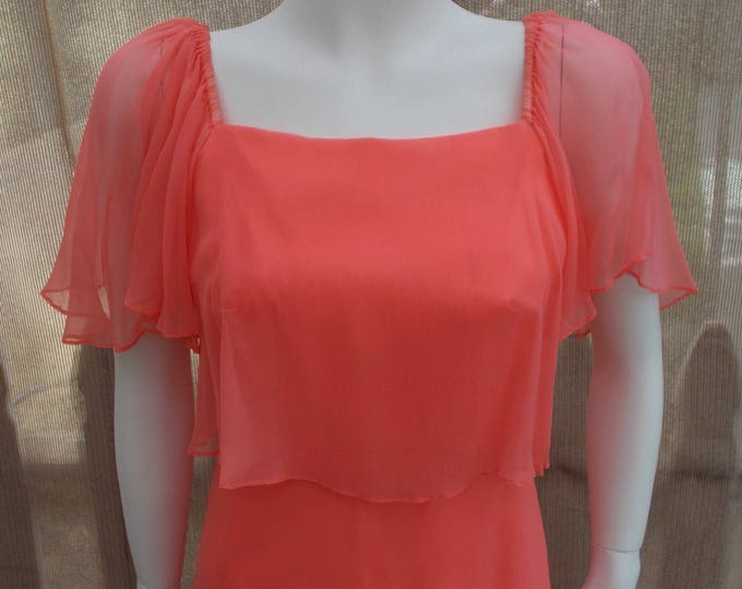 70's Peach Chiffon Women's Bridesmaid Wedding Dress