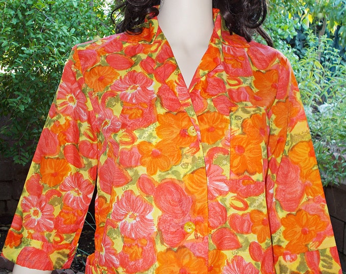 Vintage 50's 60's Crispy Nylon Orange Flowers Housecoat Bathrobe Floral Dressing Gown Housedress