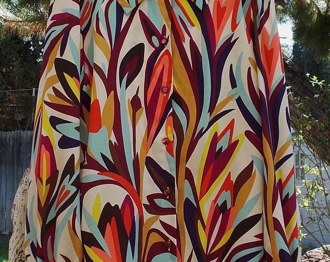 Vintage 90's Missoni Beige Rainbow Abstract Career Preppy Women's Long Sleeve Blouse Top