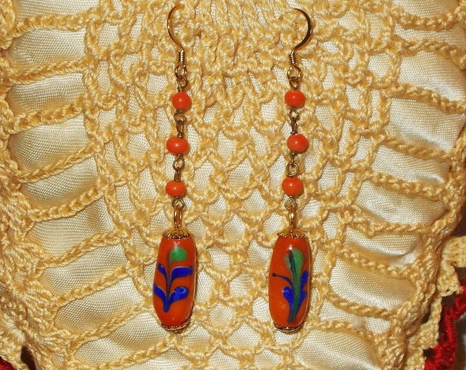 Handmade Orange Blue Green Flowers Hippie Chic Old Glass Bead Flapper Style Extra Long Tube Earrings