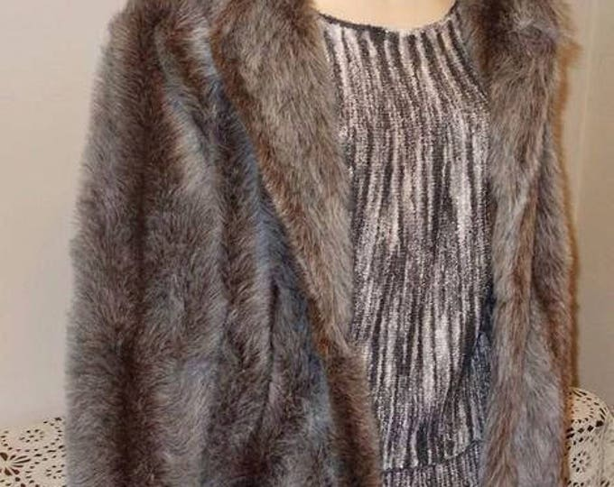 Vintage 80's Silver Gray Candace Originals Plush Faux Fur Winter Women's Short Coat Jacket