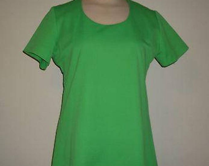 Vintage 70s MOD Lime Green Teddi Of California Short Sleeve Blouse Top With Zipper