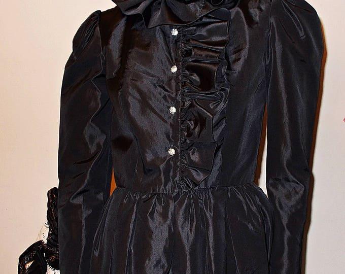 Vintage 60's Jack Bryan Cocktail Evening Black Taffeta Special Occasion Rhinestone Buttons Little Black Dress