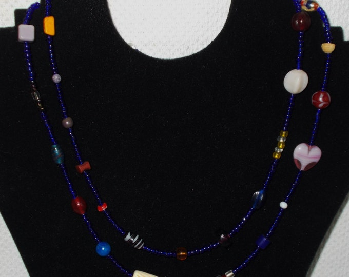 Vintage Handmade 90's One Of A Kind Hippie Chic Cobalt Blue Seed Bead Bohemian Tribal Extra Long Necklace