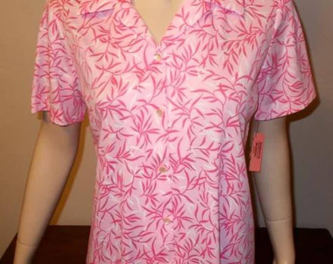 Vintage 70's MOD Graff Californiawear Pink Polyester Floral Leaf Blouse